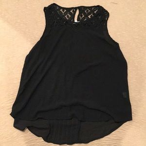 Tops - Sheer Black Muscle Shirt Top Lace Detailing Large
